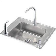 "Elkay Lustertone Classic Stainless Steel 28"" x 22"" x 5"", Single Bowl Drop-in Classroom ADA Sink+Faucet/Bubbler Kit"