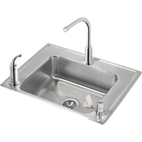 "Elkay Lustertone Classic Stainless Steel 28"" x 22"" x 6"", Single Bowl Drop-in Classroom ADA Sink+Faucet/Bubbler Kit"