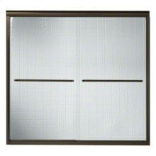 """Finesse™ Frameless Sliding Bath Door - Height 55-1/2"""", Max. Opening 57"""" - Deep Bronze with Smooth Clear Glass Texture"""