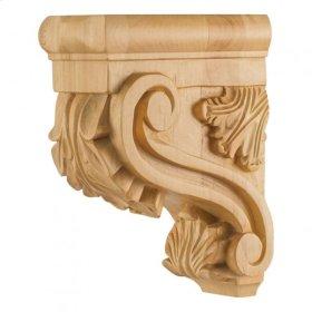 "3"" x 6"" x 8"" Acanthus Wood Bar Bracket Corbel, Species: Hard Maple"