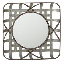Square Woven Galvanized Wall Mirror.