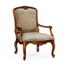 French Walnut Chair with Fine Velvet Upholstery