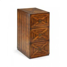 Walnut parquet three filing cabinet