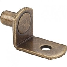 """Antique Brass 1/4"""" Pin Angled Shelf Support with 3/4"""" Arm and 1/8"""" Hole"""