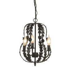 Small Antique Brown Leaf Metal Chandelier. 25W Max