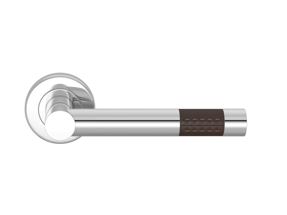 Barrel Short Stitch Out Recess Leather In Chocolate And Bright Chrome