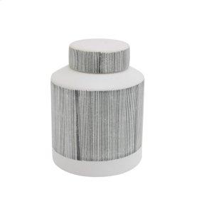 "Ceramic Covered Jar 8.5"", Graystripe"