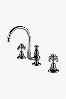 Etoile Gooseneck Three Hole Deck Mounted Lavatory Faucet with Metal Cross Handles STYLE: ETLS61