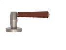 Tube Stitch Incombination Leather Door Lever In Chestnut And Satin Nickel Product Image