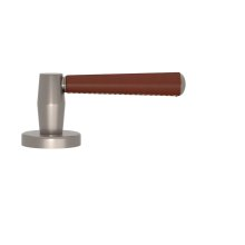 Tube Stitch Incombination Leather Door Lever In Chestnut And Satin Nickel