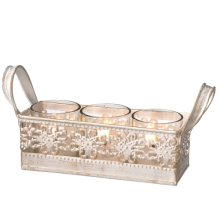White and Gold Triple Tealight Holder Tray.