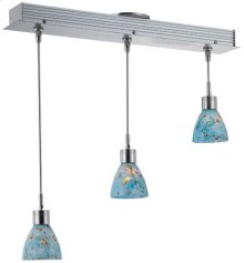 3-lite Ceiling Lamp, Ps W/colored Aqua Glass Shd, Mr16 35wx3