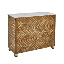 """Wood 37"""" 3 Drawer Cabinet W/parquetry Design, Browm"""