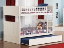 Nantucket Bunk Bed Full over Full with Raised Panel Trundle Bed in White