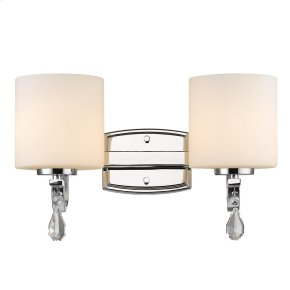 Evette 2 Light Bath Vanity in Chrome with Opal Glass