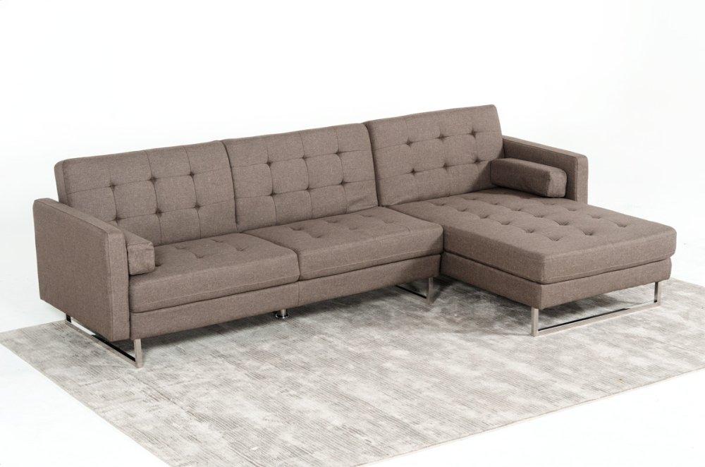 Divani Casa Smith Modern Brown Fabric Sectional Sofa Bed