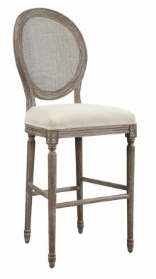 "Barstool 30""-sand Gray Finish W/uph Seat-cream & Back-rattan"