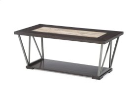 Emerald Home North Bay Cocktail Table Wood & Tile Top, Silver Gray Metal Legs T526-0