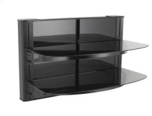 Black Wall-Mounted Furniture AV component system with two shelves