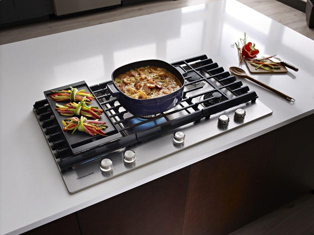 Kcgs956ess Kitchenaid 36 5 Burner Gas Cooktop With Griddle