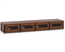 Synergy Solution 147, Quad-Width AV Cabinet, Cherry with Black Posts