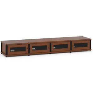 Salamander DesignsSynergy Solution 147, Quad-Width AV Cabinet, Cherry with Black Posts