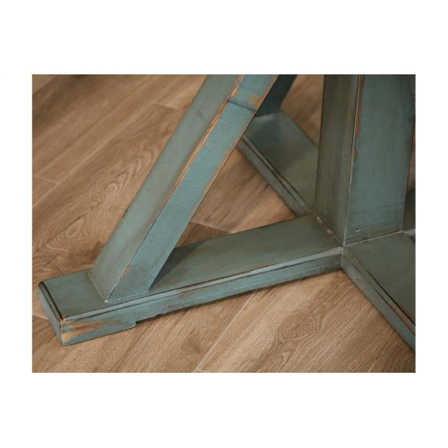 Chair w/Ladder back, fabric seat, Solid wood - Turquoise finish **