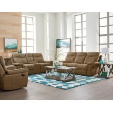Manual Brown Sofa, Loveseat and Recliner Set