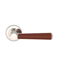 Tube Stitch Incombination Leather Door Lever In Chestnut And Polished Nickel
