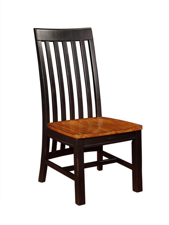 Kingsland Long Back Side Chair W/Wooden Seat