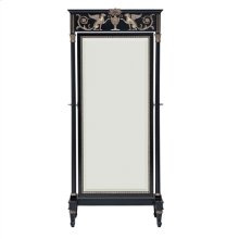 BLACK LACQUER FINISHED CHEVAL MIRROR WITH VINTAGE SILVER GIL T AND BRASS ACCENTS, BEVELED G