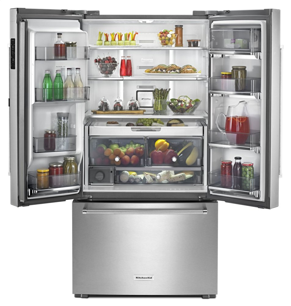 "Shop Kitchenaid 23 8 Cu Ft Counter Depth French Door: KRFC604FSS Kitchenaid 23.8 Cu. Ft. 36"" Counter-Depth French Door Refrigerator"
