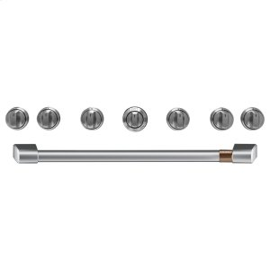 "Cafe Appliances36"" Brushed Stainless Handle & Knob Set for Pro Range and Rangetop"