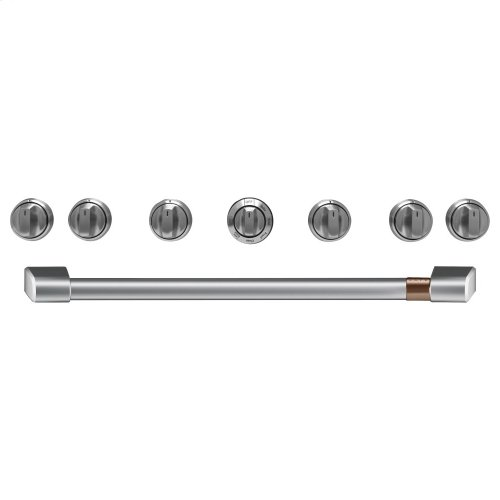 """Café 36"""" Brushed Stainless Handle & Knob Set for Pro Range and Rangetop"""