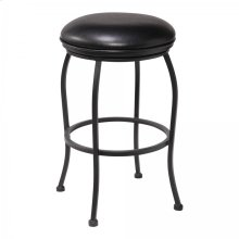 "Amy Contemporary 30"" Bar Height Barstool in Matte Black Finish and Black Faux Leather"