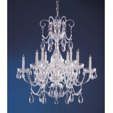 Traditional Crystal 12 Light Swarovski Strass Crystal ChromeChandelier
