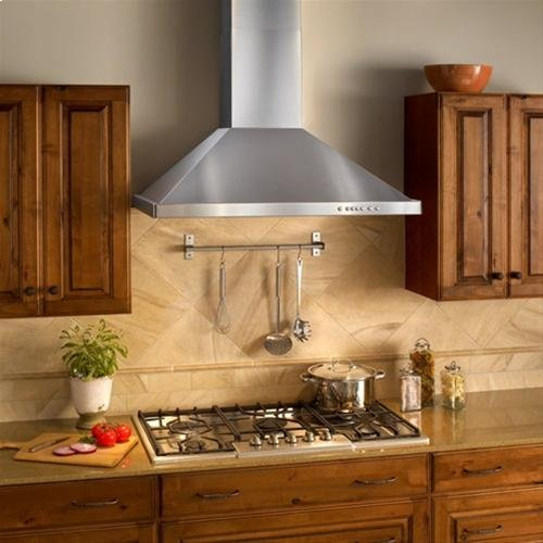 """36"""" Brushed Stainless Steel Wall Mount Chimney Hood with Internal 600 CFM Blower"""
