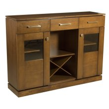 """Maple Transitional Credenza With """"floating"""" Top and Base, 2 Doors With Glass Windows, 3 Drawers, Open Middle With Removable Wine Rack Brushed Nickel Handles and Knobs, 1 Fixed Center Shelf and 4 Adjustable Shelves"""