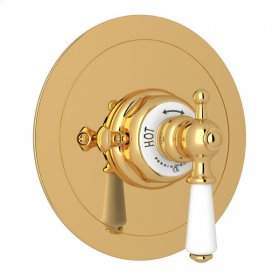 English Gold Perrin & Rowe Edwardian Era Round Thermostatic Trim Plate Without Volume Control with Metal Lever