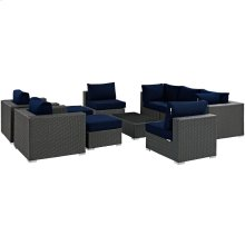 Sojourn 10 Piece Outdoor Patio Sunbrella® Sectional Set in Canvas Navy