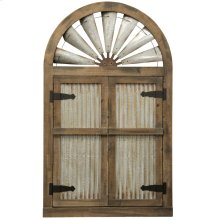 Rustic Barn Door Mirror  Natural Weathered Wood and Galvanized Metal Fan Arch Way with Clear Mirror