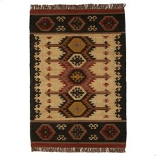 Tan Multi Color Kilim Pattern 4'x6' Rug.