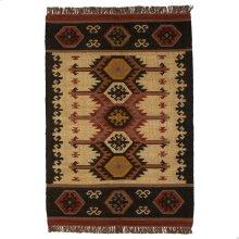 Tan Multi Color Kilim Pattern 4'x6' Rug.