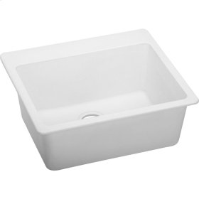 "Elkay Quartz Classic 25"" x 22"" x 9-1/2"", Single Bowl Top Mount Sink, White"