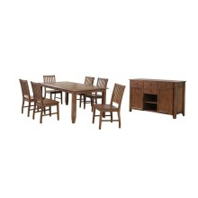 DLU-BR4272-C60-AMSB8PC  7 Piece Extendable Table Dining SetSideboard  Amish Brown