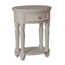 Nightstand, Vintage White, Round