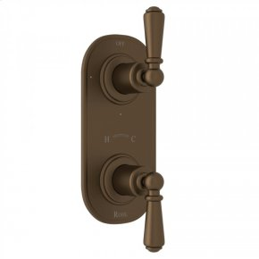 "English Bronze Perrin & Rowe Edwardian 1/2"" Thermostatic/Diverter Control Trim with Edwardian Metal Lever"