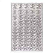 Freydis Greek Key 5x8 Area Rug in White and Light Gray
