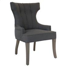 Brooks 3 Button Vertical Welp Upholstered Grey Linen Chair