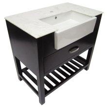 "AB36DR 36"" Dark Walnut Single Farm Sink Bath Vanity with a Drawer and Marble Countertop"